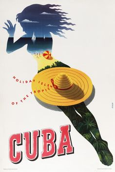 Cuba: Holiday Isle of the Tropics (Sunbather) | Vintage travel poster- collage wall