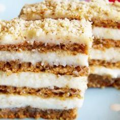Makrancos szelet liszt nélkül Hungarian Desserts, Hungarian Recipes, Good Food, Yummy Food, Salty Snacks, Healthy Cookies, Sweet Desserts, Cakes And More, No Bake Cake