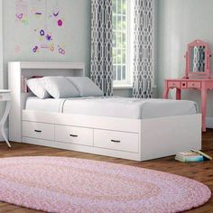Viv + Rae Keira Platform Bed with Drawers and Bookcase Bed Frame Color: White, Size: Twin Platform Bed With Drawers, Bunk Beds With Drawers, Twin Platform Bed, Full Bunk Beds, Bunk Beds With Stairs, Kids Bunk Beds, Bed Frame With Drawers, Kids Beds With Storage, Bed Frame With Storage