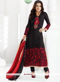 Amisha Patel Style Black Churidar Suit