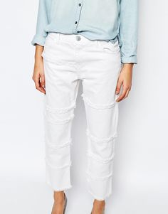 Image 3 ofCurrent/Elliott Boyfriend Jeans With All Over Frayed Seams