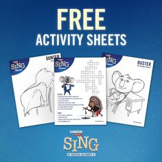 Printable SING Activity Sheets And Coloring Pages