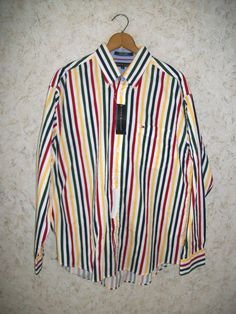 f31894c3df359 90s TOMMY HILFIGER Rainbow Striped Button Down Shirt NOS Long Sleeves Rad  Hip Vintage 1990s Retro Fashion HIpster New Mens Large