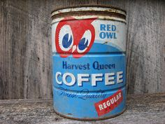 Red Owl Harvest Queen Coffee Tin Antique Light by tincansally