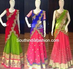 Sequin Work Half Sarees ~ Celebrity Sarees, Designer Sarees, Bridal Sarees, Latest Blouse Designs 2014