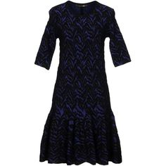 Roberto Cavalli Short Dress (3,355 SAR) ❤ liked on Polyvore featuring dresses, blue, 3 4 length sleeve dress, blue three quarter sleeve dress, roberto cavalli dresses, short dresses and lightweight dresses