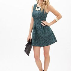 LOVE 21 Floral Brocade A-Line Dress Midnight/Green