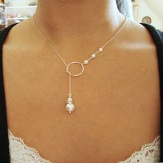 Silver Bridal Necklace Simple Wedding Necklace by luxedeluxe