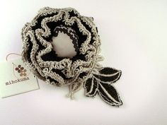 Black and taupe floral brooch with vintage fabric | with vin… | Flickr