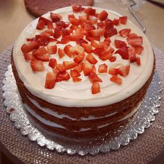 Inside of our strawberry cake. Treat Yourself, Delish, Bakery, Oven, Strawberry, Birthday Cake, Treats, Desserts, Food