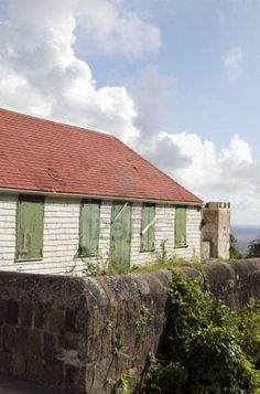 typical house architecture style old historic cottage Windwardside Saba Dutch Netherlands  Antilles Caribbean sea view Stock Photo