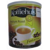 Koffiehuis Medium Roast Powder is a mixture of selected coffee and chicory. Biltong, Tea Brands, Coffee Roasting, No Bake Cookies, Salsa, Medium, African, Jar, Snacks