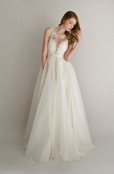 lace and silk chiffon gown