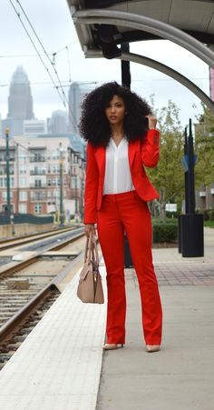 Red Express suit, power suit, professional clothes, workwear, white blouse, natural curls, shea moisture, kera care, curly hair, wash and go, diffuser, natural hair