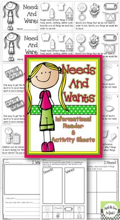 Needs and Wants Informational Reader & Activity Sheets Social Studies Lesson Plans, Kindergarten Social Studies, Social Studies Activities, Teaching Social Studies, Student Teaching, Science Activities, Teaching Ideas, Economics Lessons, Second Grade Science
