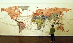 Reena Saini Kallat Untitled (Map/Drawing) 2011 electric wires and fittings, 10 min audio loop Thread Art, Lost Art, Preschool Art, View Map, Map Art, Back Home, Installation Art, Art World, Fiber Art