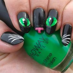 Halloween nails cat nail art cat eyes on my long natural stiletto nails . Are you looking for easy Halloween nail art designs for October for Halloween party? See our collection full of easy Halloween nail art designs ideas and get inspired! Cat Nail Art, Cat Nails, Nail Tip Art, Cat Claw Nails, Nail Tips, Pink Nails, Halloween Nail Designs, Halloween Nail Art, Halloween Halloween