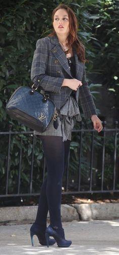 Blair Waldorf - Milly blouse, Tibi skirt and jacket, Louis Vuitton bag, Balenciaga shoes. Blair Waldorf Outfits, Blair Waldorf Style, Gossip Girl Outfits, Gossip Girl Fashion, Preppy Outfits, Fashion Outfits, Womens Fashion, Estilo Gossip Girl, Leighton Marissa Meester