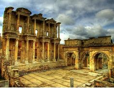 The great library of Ephesus. When I visited in the summer of 2000 I helped small Turkish EMTs carry a large American tourist into an ambulance.