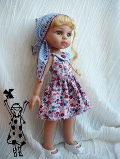 Vestido con pañuelo bordado para Lesly o muñeca tipo Paola Reina 16 euros