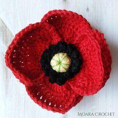 Crochet Flower Headbands, Crochet Flower Tutorial, Crochet Flower Patterns, Knitting Patterns, Knitted Poppy Free Pattern, Crochet Quilt Pattern, Free Crochet, Knitted Poppies, Knitted Flowers