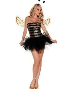 shimmer with sexy in this honey bee costume adult sequins bee costume features a black and gold sequin tube top black tutu skirt glittering bee wings and