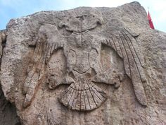Double Headed Eagle Symbol Of Great Seljuk Turks Talas Kayseri City Golden Horde, Double Headed Eagle, Blue Green Eyes, Two Heads, Indian Language, Sumerian, Stone Carving, Ancient Art, Islamic Art