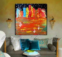 The print comes packaged in a sturdy tube with tracking number.  The Lights Of City.  Colorful Rich Texture Skyline Wall Art Painting The Lights