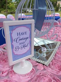 Party sign at a Cinderella birthday party! See more party planning ideas at CatchMyParty.com!