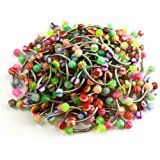 SaiDeng Stainless Steel Rod Colorful Body Piercing Jewelry Tongue Nail Lip Eyebrow Nose Ring 20pcs
