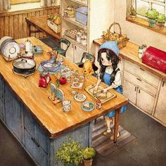 It's time to cook:) Illustration Mignonne, Art Et Illustration, Art Anime Fille, Anime Art Girl, Art Qoutes, Art Mignon, Forest Girl, Illustrations And Posters, Cartoon Art