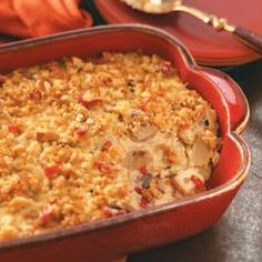 """Overnight Chicken Casserole Recipe- Recipes  I don't know where this casserole originated, but the recipe was given to me some 40 years ago. It's my family's all-time favorite. Not only is it a great """"company"""" meal, it's also well-received at potluck dinners."""