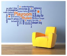 Playroom Rules Vinyl Wall Decal   2 COLOR   Several Sizes Available! On  Etsy,