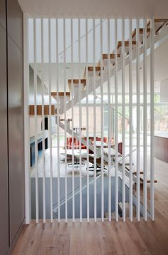 New Stairs Glass Wall Woods Ideas Wood Staircase, Floating Staircase, Stair Railing, Staircase Design, Staircase Glass, Wood Slat Wall, Wood Slats, Stairs In Living Room, House Stairs