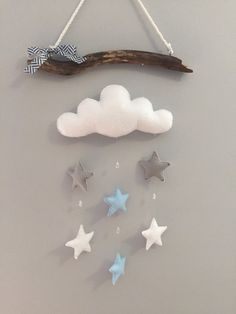 Clouds & Stars Driftwood Mobile by HeartFELTHangables on Etsy