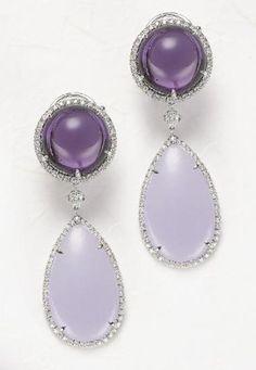 PHILLIPS : NY060109, Margherita Burgener, A Pair of Amethyst, Jade and Diamond Ear Pendants