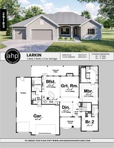 With high ceilings and open room arrangements, this sq., house plan feels like a much larger home on the inside. Expansive views from the entry include the dining room and great room -- both defined by ceiling heights and elegant corner columns. Open Floor House Plans, Home Design Floor Plans, Architectural Design House Plans, New House Plans, Modern House Plans, Small House Plans, Br House, Story House, Cottage House
