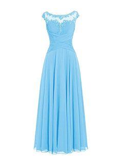 Dresstells Damen Lange Homecoming Kleider Brautjungfernkleider Abendkleider Blau Größe 32