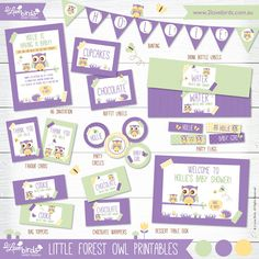 2 Love Birds 'Little Forest Owl' Party Printables #Owl #printables #2lovebirds #party #kidsparty