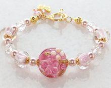 Artisan Handmade Lampwork Glass, Swarovski Crystal,  Pearl Gold Plate Bracelet- Jewelry Gift for Her