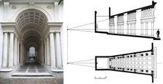Una prospettiva ancora più accelerata era già stata realizzata da Francesco Borromini per la galleria di Palazzo Spada, a Roma (1635). In uno spazio molto angusto (8,60 m di lunghezza) l'architetto è riuscito a dare la percezione di un corridoio lungo circa 40 m. Le sette meraviglie prospettiche in architettura | DidatticarteBlog