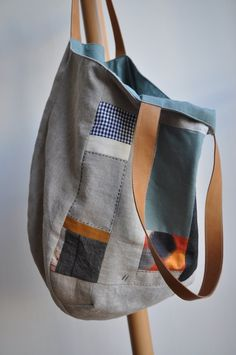ON SALE Patchwork linen bag with leather von bybetweenthelines