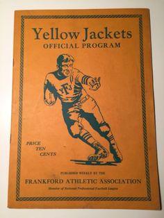 RARE! 1928 FRANKFORD YELLOW JACKETS DAYTON TRIANGLES NFL FOOTBALL PROGRAM EAGLES please retweet