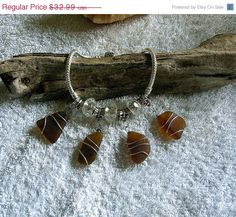 SALE Sea glass bracelet in brown Sea glass by EgyptianInspirations, $29.69