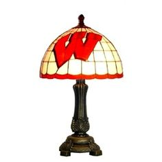 University of Wisconsin Badgers Tiffany Style Stained Glass Table Lamp