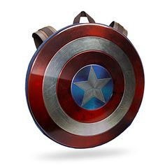 On your back, it looks just like Steve Rogers's shield, straps and all. A hard plastic shield will protect your important items. Inside, you'll find a large main pocket, two accessory pockets, and a padded laptop/tablet pocket.
