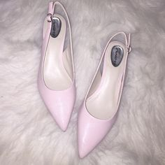 Pale Pink Trotters Low Heel Slingbacks Brand new in box Gorgeous shade of pink low heel adjustable Slingback heels. Perfect for the office. Trotters Shoes Heels