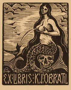 Ex-libris - Obratil Ex Libris, Vintage Mermaid, Mermaid Art, Mermaid Illustration, Illustration Art, Occult Art, Mermaids And Mermen, Mermaid Tattoos, Nautical Art