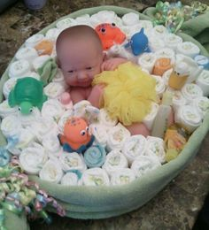 Diaper Cake/ Boy/ Girl/ Baby Shower/ Gift/ Baby In Bath Center Piece