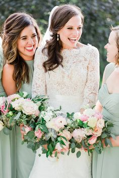 Gorgeous collections of pink, peach and white blooms mixed with fresh greenery and succulents for the stunning bridal bouquets at Julie and Tim's Audubon wedding - by Buttercup: Josiah & Steph Photography.
